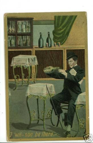 ALCOHOL BAR MAN DRINKING WILSON COMIC CANE  POSTCARD