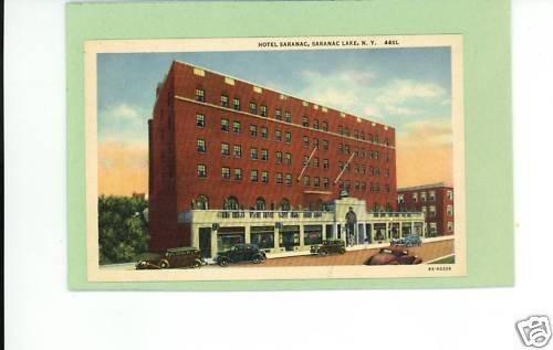 SARANAC LAKE NEW YORK HOTEL OLD CARS VINTAGE POSTCARD