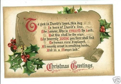CHRISTMAS TUCK HYMNS SERIES O LITTLE TOWN OF...POSTCARD