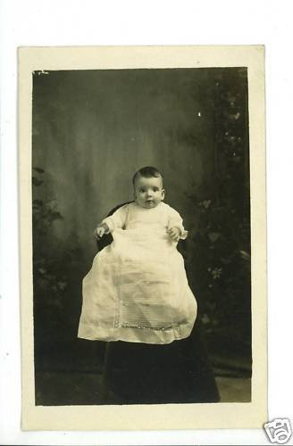 RPPC BABY IN CHRISTENING GOWN RP POSTCARD