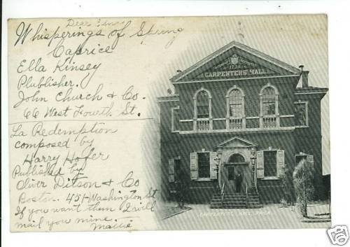 PHILADELPHIA PA CARPENTER'S HALL UNION  POSTCARD