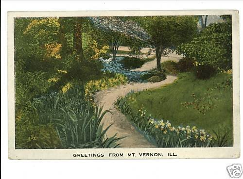 """MT VERNON ILLINOIS IL GREETINGS FROM """"PATH"""" POSTCARD"""