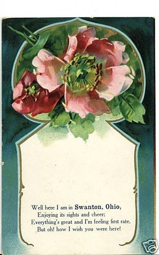 SWANTON OHIO OH  WISH YOU WERE HERE 1909 POSTCARD