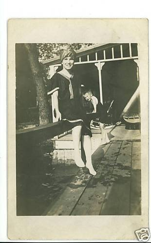 RPPC WOMAN AND BOY SWIMMING SWIMSUIT HEAD SCARF DOCK