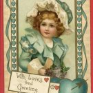 LOVE'S FOND GREETING GIRL IN BLUE HEART LETTER POSTCARD