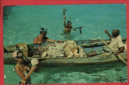 SKIN DIVING IN JAMAICA SNORKELS BOAT DIVERS POSTCARD