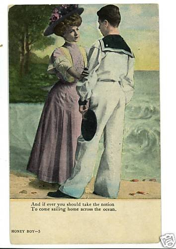 HONEY BOY SAILOR AND WOMAN WWI POSTCARD