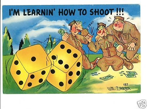 U.S. ARMY COMIC DICE SHOOT GAMBLING ZARBA POSTCARD
