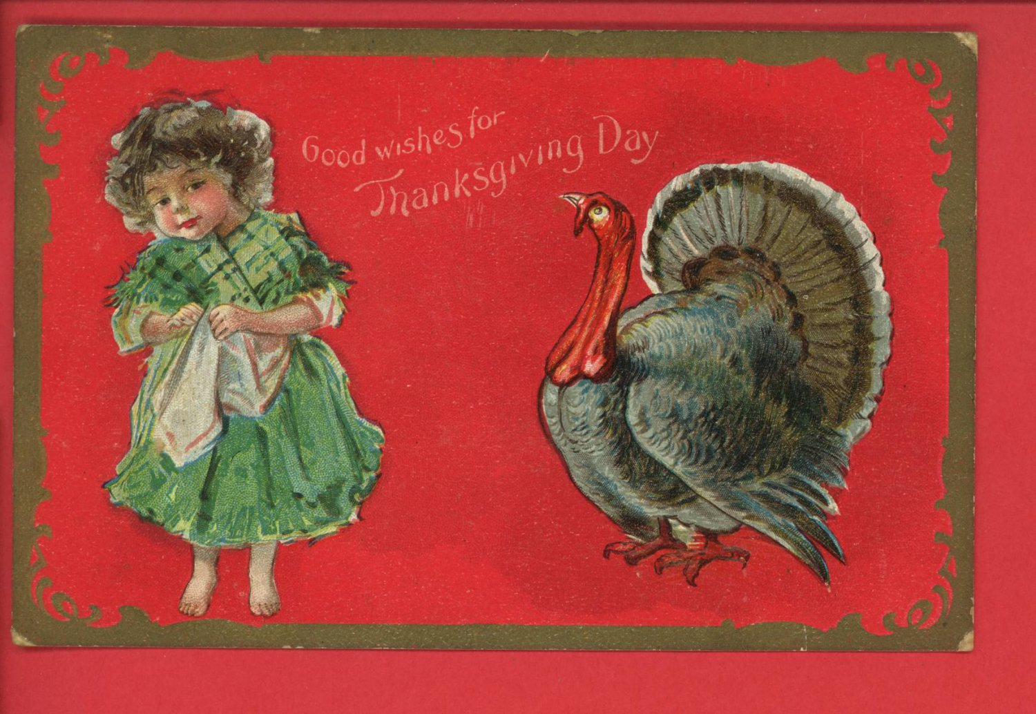 THANKSGIVING DAY WISHES GIRL AND TURKEY 1911 POSTCARD