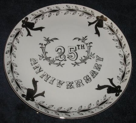 Lefton China 25th Anniversary Plate Silver Trim & Accents