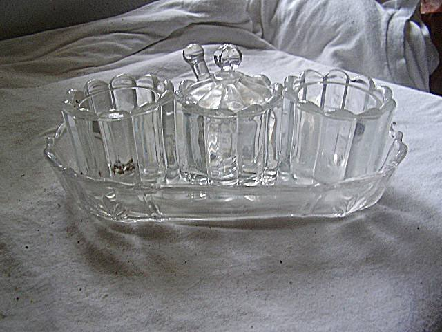 Vintage Glass Condiment Set w/Tray & Spoon