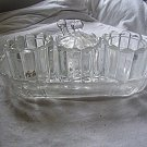 Vintage Glass Condiment Set w/Tray & Spoon