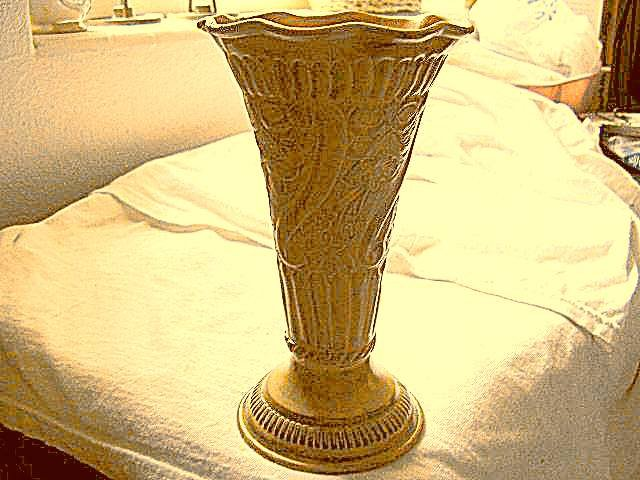 Solid Brass Painted & Highly Detailed Large Flared Vase Made in India