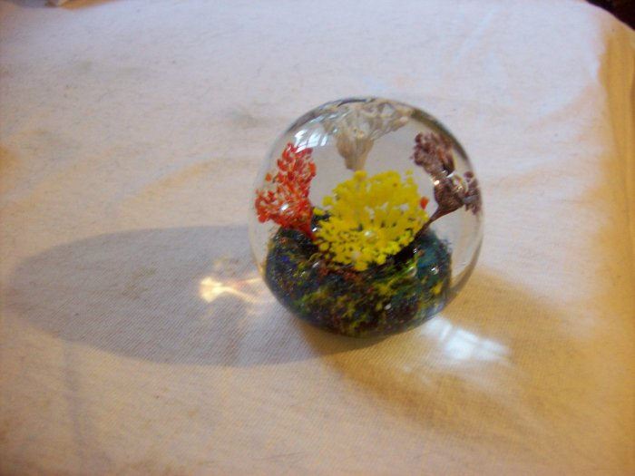 Art Glass Paperweight Multiple Colored Flowers Gorgeous