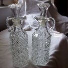 Vintage Clear Glass Oil & Vinegar Set Tight Stoppers