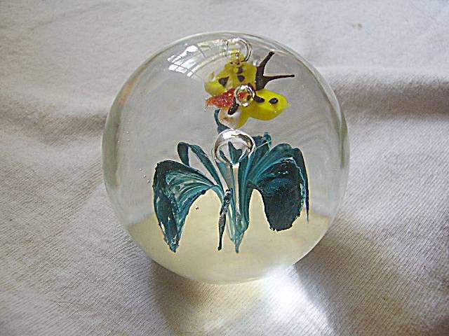 Art Glass Paperweight Floating Butterfly & Flower