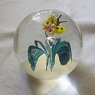 Art Glass Paperweight Floating Butterfly & Flower