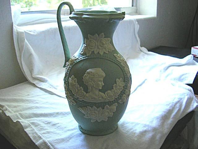 Large Light Green Jasperware Urn Pitcher
