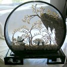 Pandas in Glass Front Wood Case - Scene is Made of Cork