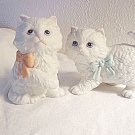 White Cat Figurines Lot of 2 Made by Homco (Home Interiors)