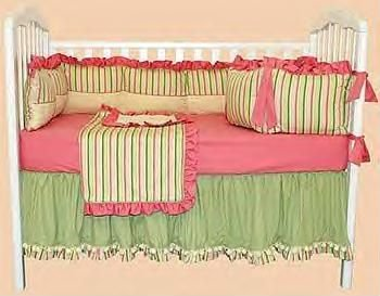 NEW BUBBLE BEACH Sleepy Stripes BABY CRIB BEDDING SET 4 Piece