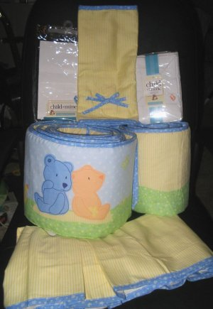 NEW CARTERs TEDDY BEAR BABY NURSERY CRIB BEDDING SET 4 PIECES NIP
