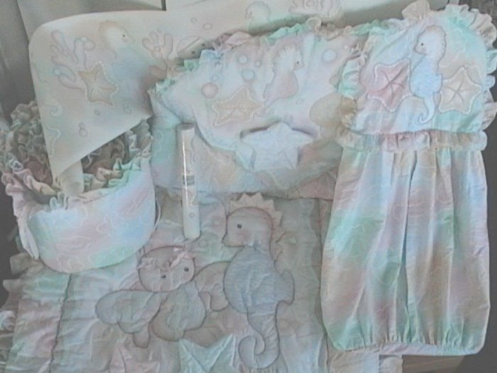 RARE Lambs and Ivy SEA MAGIC 7 Piece BABY CRIB BEDDING and NURSERY DECOR SET
