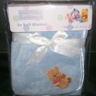 NEW SO SOFT BLUE BOA SATIN BABY POOH BLANKET DISNEY NIP