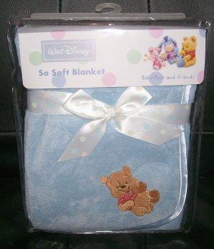 NEW SO SOFT BLUE BOA SATIN BABY POOH BLANKET DISNEY NIP