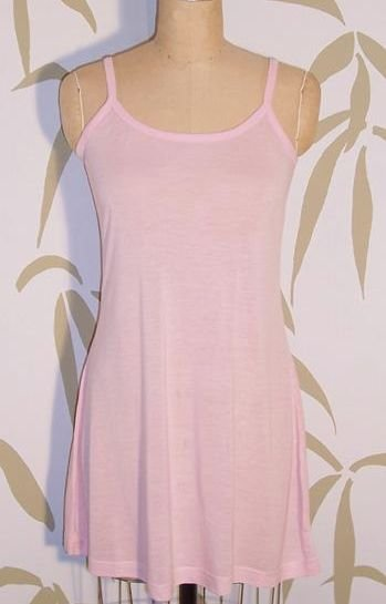 NEW BAMBOO Fine Jersey Knit ORGANIC Pale Pink SLEEP SLIP DRESS NIGHTGOWN PAJAMAS M