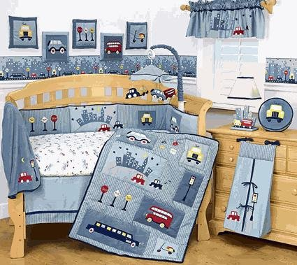 Lambs and Ivy City Babies 6 Pc Baby Boy Nursery Decor Set Blue Crib Bedding Luxury Set Car Bus Taxi