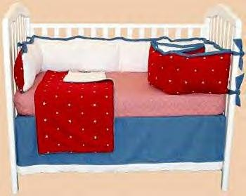 Bubble Beach STAR BRIGHT RED WHITE and  BLUE AMERICAN FLAG Baby Nursery Four Piece CRIB BEDDING SET