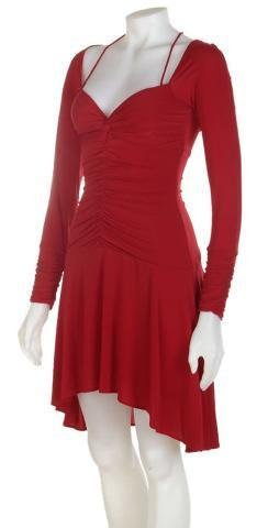 NEW BCBG Designer Max Azria Rouge Red Gathered Long Sleeve Dress Womens Size S Small 6