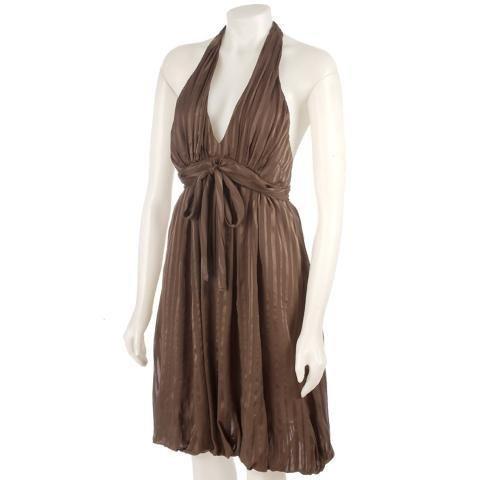 NEW BCBG Designer MaxAzria Light Dune Brown Silk Satin Halter Dress Womens Size 12