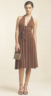 NEW BCBG Designer MaxAzria Brown Sugar Jersey Flared Halter Dress Womens Size L 12 14 Large