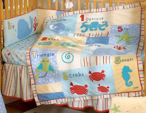 New Go Fish by CoCaLo Gender Neutral 4 Piece Baby Boy or Girl Nursery Luxury Crib Bedding Set NIP