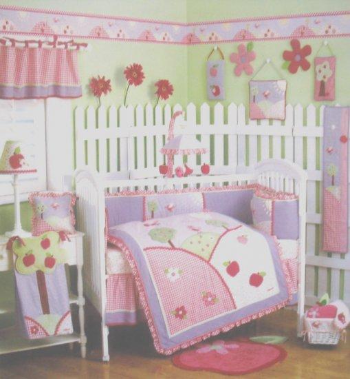 RARE NEW OshKosh BABY APPLE HILL 4 Piece Baby Girl Nursery Crib Bedding SET by CoCaLo Osh Kosh NIP