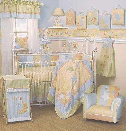 Lambs Ivy LITTLE DIPPER 6 Piece Baby Nursery Crib Bedding Decor Set Velvet Chenille Fabric NIP