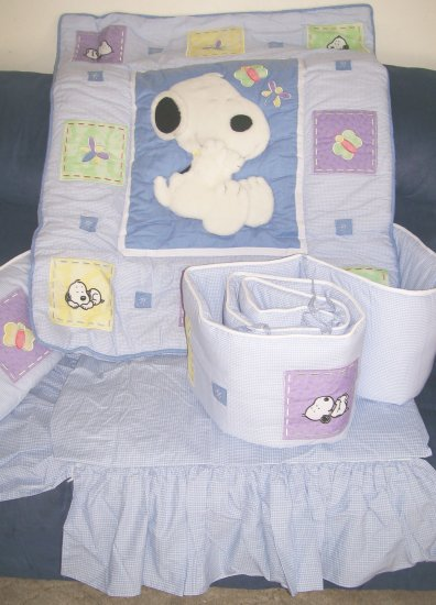 NEW LAMBS and IVY TOTALLY SNOOPY Blue 4 PIECE BABY GIRL Butterfly NURSERY CRIB BEDDING SET NIP