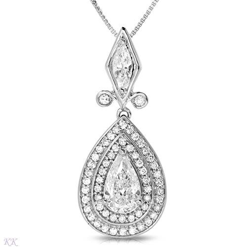 New Solitaire Plus Necklace With 1.80ctw Genuine Marquise Cut Clean Diamonds Made of 18K White Gold