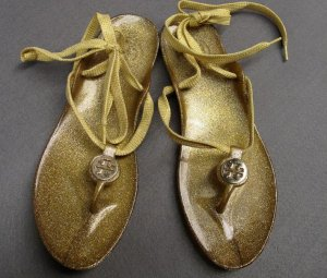 Tory Burch Jelly Gold Thong Sandals