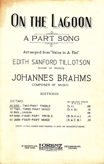 On The Lagoon, A Part Song Arranged from Brahms Valse in A Flat, Vintage Sheet Music - 108