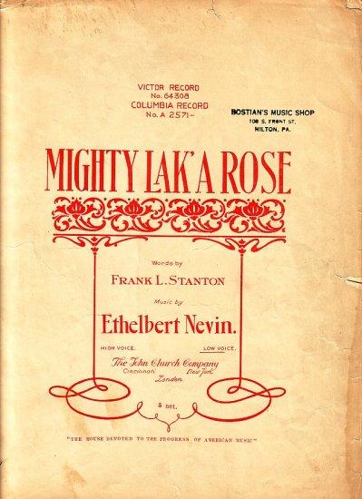 Mighty Lak' A Rose, 1901 Irish Song Sheet Music - 107