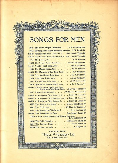 The Tempest King, Songs for Men Series Vintage Sheet Music - 115