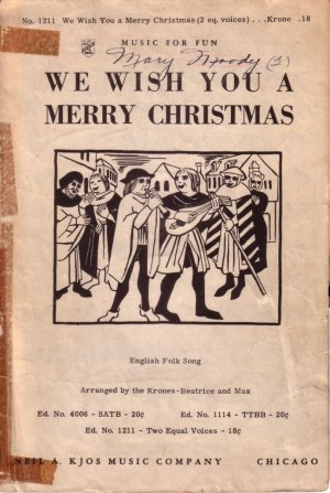 We Wish You a Merry Christmas, 1940 Sheet Music for 2