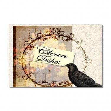 Dishwasher Clean Dirty dishes Flip Sign Victorian Crow shabby Stainless Steel Option