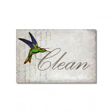 Clean Dirty Dishwasher Magnet Flip Sign Humming birds collage Stainless Steel Option