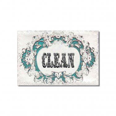 Clean Dirty Dishwasher magnet Victorian Flip Sign shabby french turquoise Stainless Steel Option