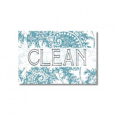 Dishwasher Magnet Clean Dirty Flip Sign Lace pattern Blue Rose shabby NOW Stainless Steel Option