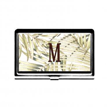 Monogram Busniess Card Case Credit Card Holder l metal green fern nature garden personalized gift